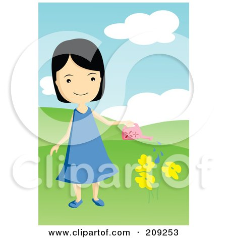 Royalty-Free (RF) Clipart Illustration of a Girl Watering Yellow Flowers by mayawizard101