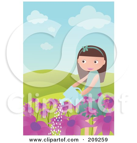 Royalty-Free (RF) Clipart Illustration of a Girl Watering Purple Flowers by mayawizard101