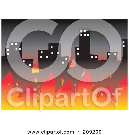 Royalty-Free (RF) Clipart Illustration of a Fire Burning Up A City by mayawizard101
