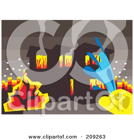 Royalty-Free (RF) Clipart Illustration of a Fireman Spraying Water On A Burning House by mayawizard101