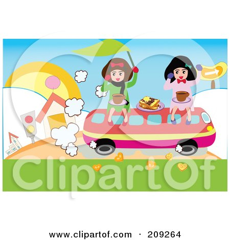 Royalty-Free (RF) Clipart Illustration of Two Girls Riding On A Bus With Food by mayawizard101