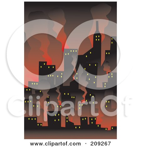 Royalty-Free (RF) Clipart Illustration of a Wildfire Burning Up A City by mayawizard101