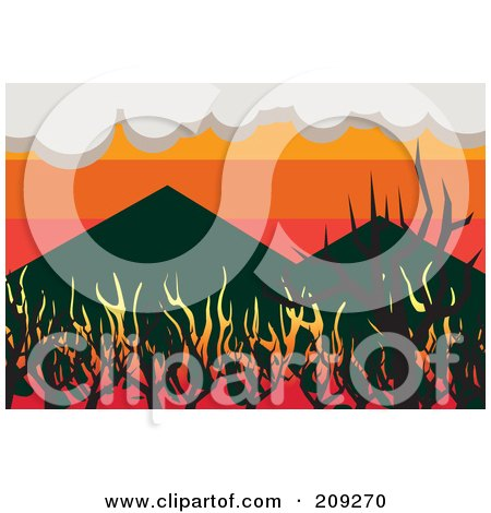 Royalty-Free (RF) Clipart Illustration of a Wildfire Burning Up Woodland Near Mountains by mayawizard101