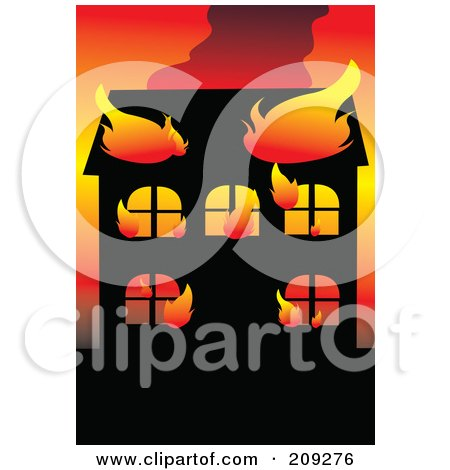 Royalty-Free (RF) Clipart Illustration of a Wildfire Burning Up A House by mayawizard101