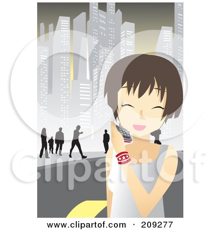 Royalty-Free (RF) Clipart Illustration of a Happy Woman Walking In A City And Talking On A Cell Phone by mayawizard101