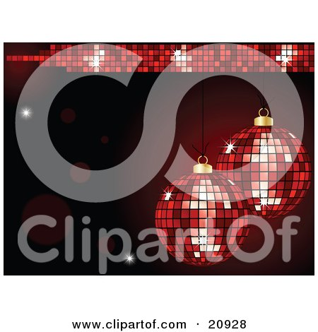 Clipart Illustration of Two Sparkling Disco Mirror Christmas Bauble Ornaments Suspended Over A Dark Red Background by elaineitalia