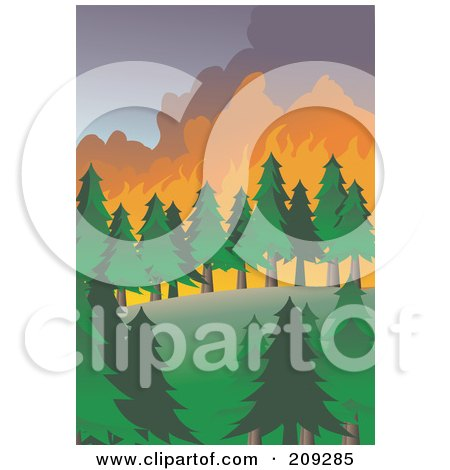 Royalty-Free (RF) Clipart Illustration of a Wildfire Burning Through Evergreens by mayawizard101