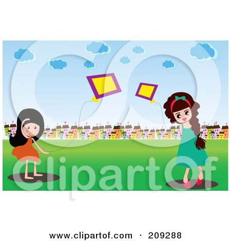 Two Girls Playing With Kites In A Field Near A Village Posters, Art Prints