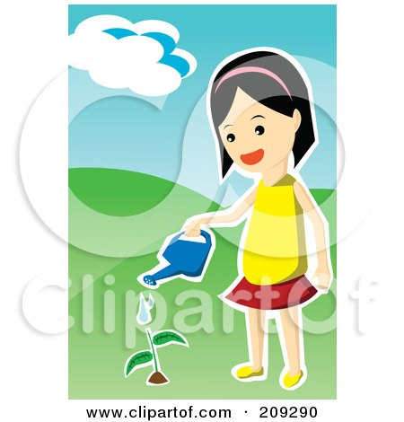 Royalty-Free (RF) Clipart Illustration of a Girl Watering A Little Plant by mayawizard101