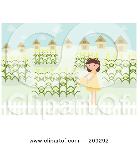 Royalty-Free (RF) Clipart Illustration of a Girl Watering Her Corn Garden by mayawizard101