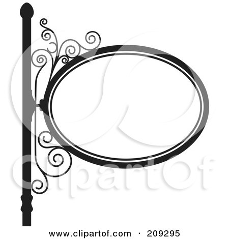 Royalty-Free (RF) Clipart Illustration of an Oval Wrought Iron Storefront Sign - 1 by Frisko