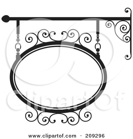 Royalty-Free (RF) Clipart Illustration of an Oval Wrought Iron Storefront Sign - 4 by Frisko