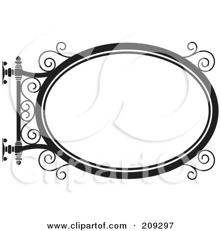 Royalty-Free (RF) Clipart Illustration of an Oval Wrought Iron Storefront Sign - 3 by Frisko