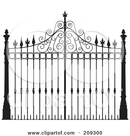 Royalty-Free (RF) Clipart Illustration of an Ornate Wrought Iron Gate by Frisko