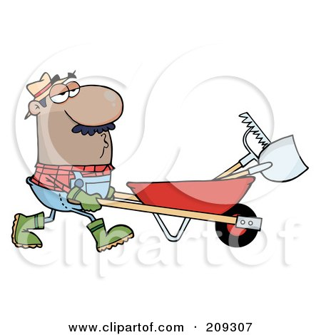 Royalty-Free (RF) Clipart Illustration of a Hispanic Male Landscaper Pushing A Rake And Shovel In A Wheelbarrow by Hit Toon