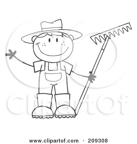 Royalty-Free (RF) Clipart Illustration of an Outlined Farmer Boy Holding A Rake And Waving by Hit Toon