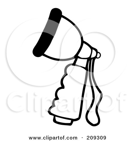 Royalty-Free (RF) Clipart Illustration of an Outlined Hand Held Hose Spray Nozzle by Hit Toon