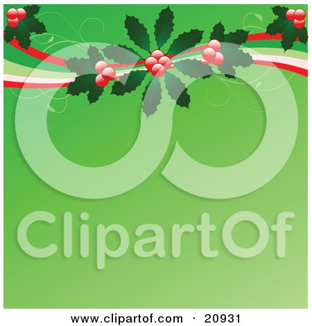 Clipart Illustration of Red Berries And Holly Leaves With Swirls Over A Green Christmas Background by elaineitalia