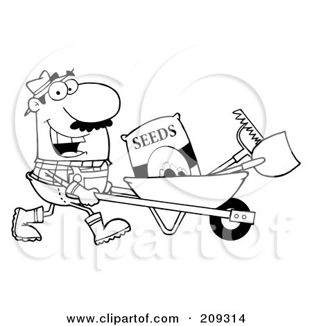 Royalty-Free (RF) Clipart Illustration of an Outlined Male Landscaper Pushing Seeds, A Rake And Shovel In A Wheelbarrow by Hit Toon