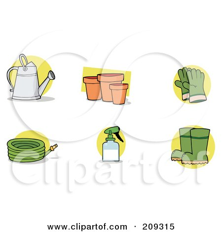 Royalty-Free (RF) Clipart Illustration of a Digital Collage Of A Watering Can, Pots, Gloves, A Hose, Spray Bottle And Boots by Hit Toon