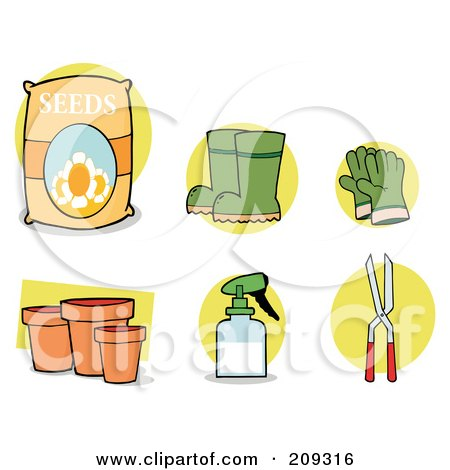 Royalty-Free (RF) Clipart Illustration of a Digital Collage Of Seeds, Boots, Gloves, Pots, A Spray Bottle And Pruners by Hit Toon
