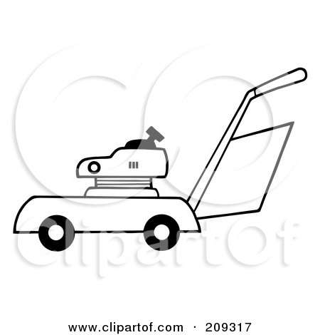 Royalty-Free (RF) Clipart Illustration of an Outlined Lawn Mower by Hit Toon