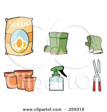 Royalty-Free (RF) Clipart Illustration of a Digital Collage Of Flower Seeds, Boots, Gloves, Pots, A Spray Bottle And Pruners by Hit Toon
