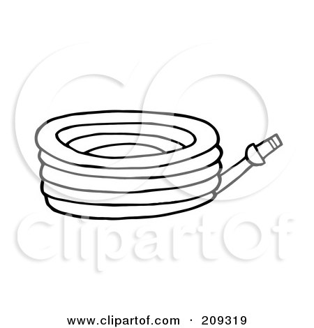 Royalty-Free (RF) Clipart Illustration of an Outlined Garden Hose by Hit Toon