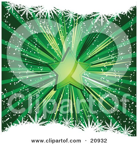Clipart Illustration of a Shining Green Christmas Star Over A Bursting Green Background by elaineitalia