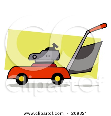 Royalty-Free (RF) Clipart Illustration of a Lawn Mower by Hit Toon