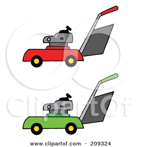 Royalty-Free (RF) Clipart Illustration of a Digital Collage Of Red And Green Lawn Mowers by Hit Toon