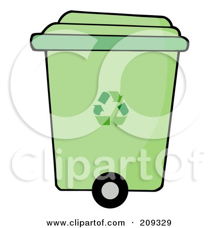 Royalty-Free (RF) Clipart Illustration of a Rolling Green Plant Recycle Bin by Hit Toon