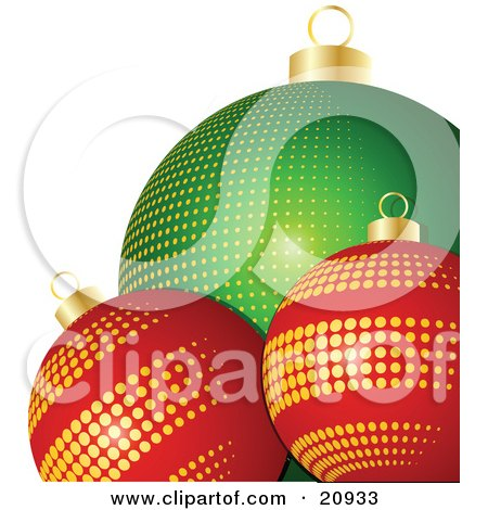 Clipart Illustration of Two Red Glass Christmas Ornaments With Gold Dots In Front Of A Green Bauble With Yellow Dots by elaineitalia