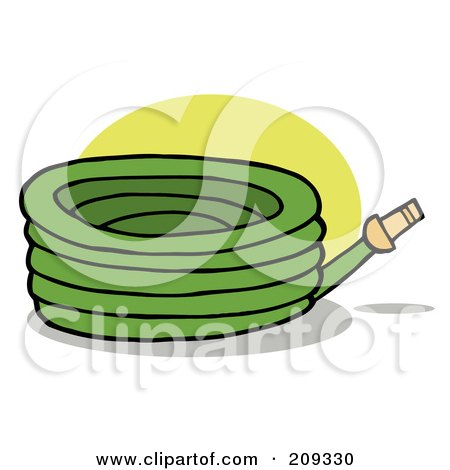 Royalty-Free (RF) Clipart Illustration of a Green Garden Watering Hose by Hit Toon