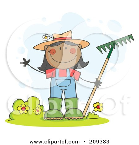 Royalty-Free (RF) Clipart Illustration of a Black Farmer Girl Waving And Holding A Rake by Hit Toon
