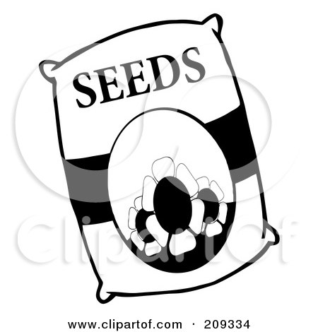 Royalty-Free (RF) Clipart Illustration of a Black And White Bag Of Flower Seeds by Hit Toon