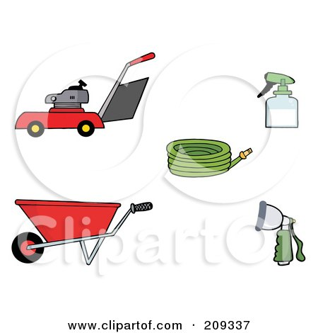 Royalty-Free (RF) Clipart Illustration of a Digital Collage Of A Lawn Mower, Wheel Barrow, Hose, Spray Bottle And Nozzle by Hit Toon