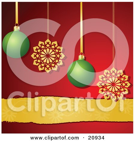 Clipart Illustration of Two Gold Snowflake Ornaments And Two Green Christmas Baubles Suspended Over A Red Background With A Golden Ribbon by elaineitalia