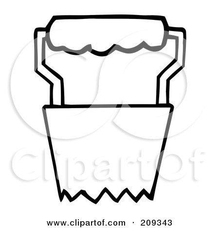 Royalty-Free (RF) Clipart Illustration of an Outlined Bulb Transplanter Garden Tool by Hit Toon
