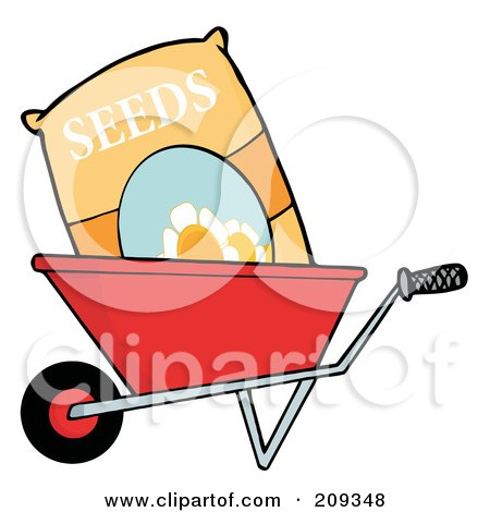 Royalty-Free (RF) Clipart Illustration of a Bag Of Flower Seeds In A Wheel Barrow by Hit Toon