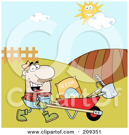 Royalty-Free (RF) Clipart Illustration of a Caucasian Male Landscaper Pushing A Wheel Barrow With Seeds, A Rake And Shovel by Hit Toon