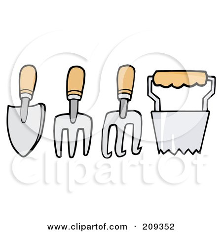 Royalty-Free (RF) Clipart Illustration of a Digital Collage Of Wood Handled Gardening Tools by Hit Toon