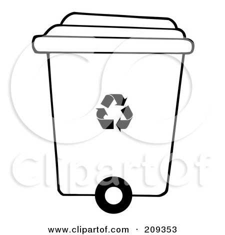 Royalty-Free (RF) Clipart Illustration of a Rolling Plant Recycle Bin by Hit Toon