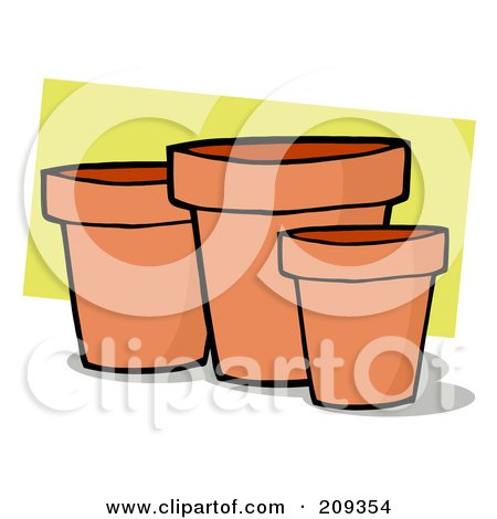 Royalty-Free (RF) Clipart Illustration of Terra Cotta Pots by Hit Toon