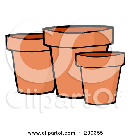 Royalty-Free (RF) Clipart Illustration of Three Terra Cotta Pots by Hit Toon