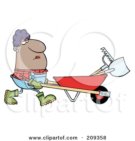 Royalty-Free (RF) Clipart Illustration of a Hispanic Female Landscaper Pushing A Rake And Shovel In A Wheelbarrow by Hit Toon