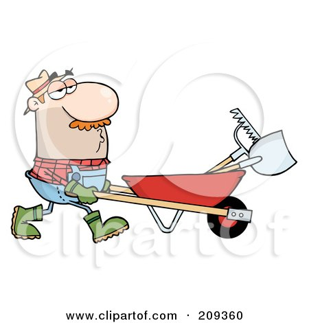 Royalty-Free (RF) Clipart Illustration of a Caucasian Male Landscaper Pushing A Rake And Shovel In A Wheelbarrow by Hit Toon