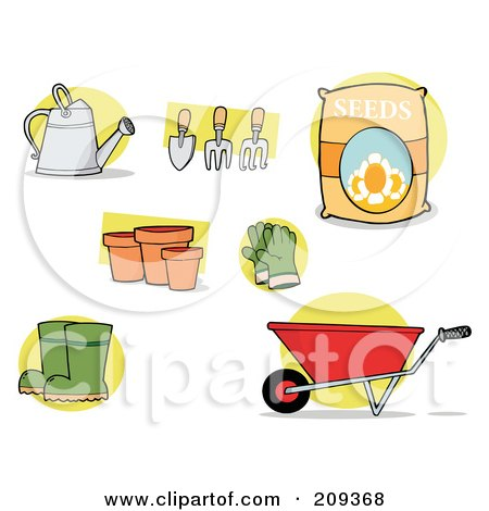 Royalty-Free (RF) Clipart Illustration of a Digital Collage Of Garden Tools by Hit Toon
