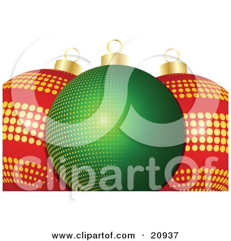 Clipart Illustration of Glass Christmas Baubles, One Green With Yellow Dots, Two Red With Golden Dots, Over A White Background by elaineitalia