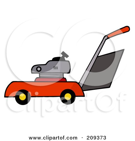 Royalty-Free (RF) Clipart Illustration of a Red Lawn Mower by Hit Toon